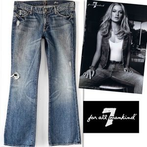 7 For All Mankind Flare Destroyed Sexy Jeans 32